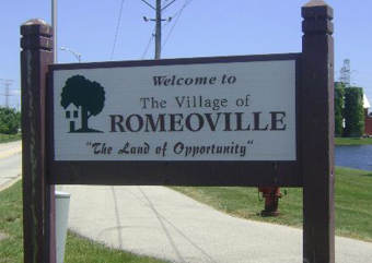 Romeoville welcome sign