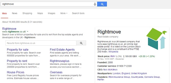 Rightmove most searched-for business in the UK