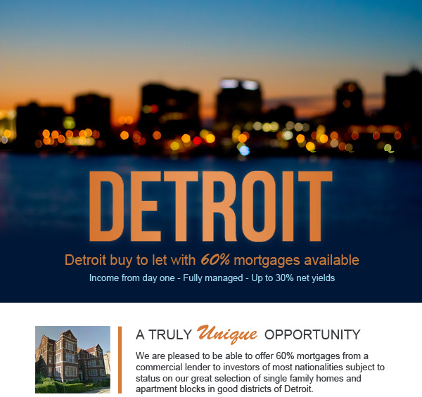 Detroit buy to let with 60% mortgages available