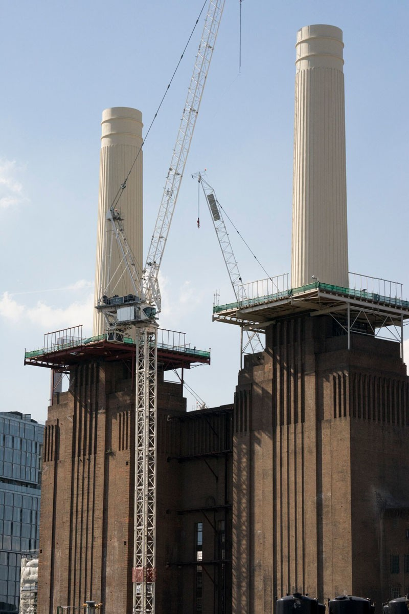 Painted chimneys Battersea Power Station